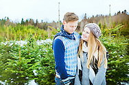 Young Couple, Falling In Love, Romance, Portrait, Christmas Tree,