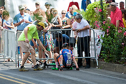 A rider of Team ISCorp Cycling recovers from a crash during the Doylestown Health Pro Women's Race at the September 11, 2016 Bucks County Classic, held in Doylestown, PA.