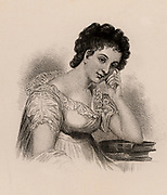 Maria Edgeworth (1767-1849) Anglo-Irish novelist. Author of 'Castle Rackrent' (1800) and 'Belinda' (1801).  Daughter of Richard Lovell Edgeworth, inventor and educationalist. Engraving.