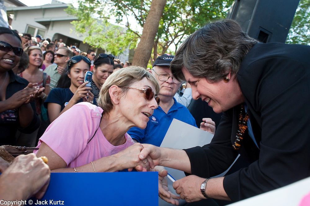 Sept. 10, 2008 -- PHOENIX, AZ: Arizona Governor JANET NAPOLITANO (right) shakes hands with an Obama supporter after speaking at a campaign rally for Barack Obama in Phoenix, AZ, Wednesday. The Barack Obama presidential campaign opened an office in Phoenix Wednesday just five miles from the home of Republican presidential candidate John McCain. About 400 Obama supporters came the opening.   Photo by Jack Kurtz