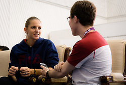 February 11, 2019 - Doha, Spain - Karolina Pliskova of the Czech Republic talks to the media during the All Access Hour ahead of the 2019 Qatar Total Open WTA Premier tennis tournament (Credit Image: © AFP7 via ZUMA Wire)
