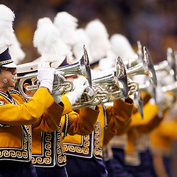 Jan 9, 2012; New Orleans, LA, USA; LSU Tigers marching band perform before the 2012 BCS National Championship game against the Alabama Crimson Tide at the Mercedes-Benz Superdome.  Mandatory Credit: Derick E. Hingle-US PRESSWIRE
