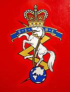 Emblem of Royal Electrical and Mechanical Engineers regiment, REME museum, MOD Lyneham, Wiltshire, England, UK