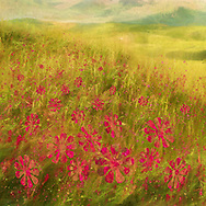 Painterly rendition of a spring green Tuscan hill with wildflowers covered in stylized magenta blossoms