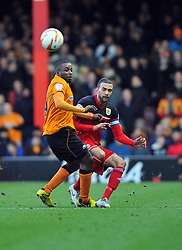 Bristol City Captain, Liam Fontaine is fouled by Wolverhampton Wanderers Sylvan Ebanks-Blake - Photo mandatory by-line: Joe Meredith/JMP  - Tel: Mobile:07966 386802 01/12/2012 - Bristol City v Wolves - SPORT - FOOTBALL - Championship -  Bristol  - Ashton Gate Stadium -
