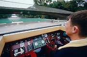 Captain Andreas Agte transforms the Katharina von Bora into a cabriolet, as he passes the low bridges along the Elbe-Havel-Channel.