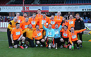 Dundee United fans celebrate after their penalty shoot out win - Dundee fans v Dundee United fans in the Rivals4Charity annual match at Dens Park <br /> <br />  - &copy; David Young - www.davidyoungphoto.co.uk - email: davidyoungphoto@gmail.com