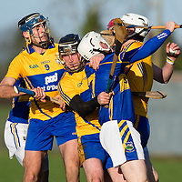 Clare's Brendan Bugler, Gearóid O'Connell, Conor Cleary and Tipperary's Brendan Maher scuffle during the Senior Hurling Game