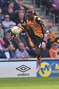Hull City midfielder Moses Odubajo (2)  during the Sky Bet Championship match between Hull City and Rotherham United at the KC Stadium, Kingston upon Hull, England on 7 May 2016. Photo by Ian Lyall.