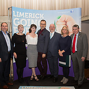 10.10. 2017.          <br /> Pictured at the Limerick Going for Gold 2017 finals in the Strand Hotel were, Joe Nash, Live95FM, Julie White, Live95FM, Aine Fitzgerald, Limerick Leader, Richard Lynch, ILovelimerick.com, Roger Beck, Parkway Shopping Centre, Geraldine O'Regan, Live95FM and Fergal Deegan, Limerick Leader.<br /> <br /> <br /> Limerick Going for Gold, which is sponsored by the JP McManus Charitable Foundation, has a total prize pool of over €75,000.  It is organised by Limerick City and County Council and supported by Limerick's Live 95FM, The Limerick Leader and The Limerick Chronicle, The Limerick Post, Parkway Shopping Centre, I Love Limerick and Southern Marketing Media & Design. Picture: Alan Place