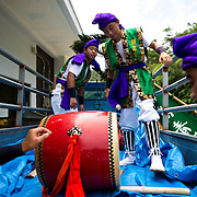 OKINAWA, JAPAN - AUGUST 17 : Eisa folk dancers pack their equipments after a dance performance in a small village in Nago during the Bon festival to honor the spirits of their ancestors on August 17, 2016, Okinawa prefecture, Japan.  (Photo by Richard Atrero de Guzman/NURPhoto)