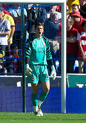 BOLTON, ENGLAND - Easter Sunday, April 24, 2011: Arsenal's goalkeeper Wojciech Szczesny looks dejected as Bolton Wanderers score the opening goal during the Premiership match at the Reebok Stadium. (Photo by David Rawcliffe/Propaganda)