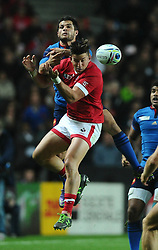 Brice Dulin of France jumps for the ball with DTH van der merwe of Canada  - Mandatory byline: Joe Meredith/JMP - 07966386802 - 01/10/2015 - Rugby Union, World Cup - Stadium:MK -Milton Keynes,England - France v Canada - Rugby World Cup 2015