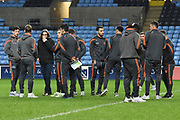 Wycombe Wanderers players inspect the pitch during the EFL Sky Bet League 2 match between Coventry City and Wycombe Wanderers at the Ricoh Arena, Coventry, England on 22 December 2017. Photo by Alan Franklin.