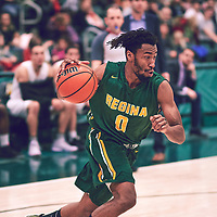 4th year guard, Gresihe Clerjuste (0) of the Regina Cougars during the Men's Basketball Home Game on Sat Dec 01 at Centre for Kinesiology,Health and Sport. Credit: Arthur Ward/Arthur Images