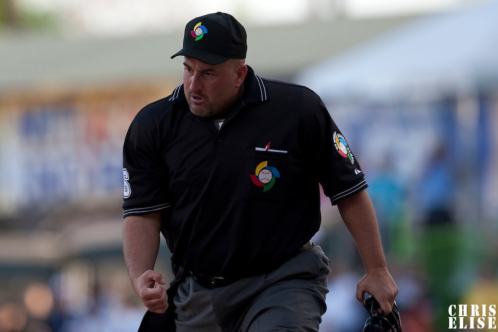 8 March 2009: Homeplate umpire Eric Cooper calls a player out during the 2009 World Baseball Classic Pool D match at Hiram Bithorn Stadium in San Juan, Puerto Rico. Dominican Republic wins 9-0 over Panama.