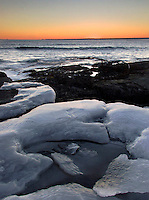 Winter Sunset over the Atlantic Ocean, Brenton Point State Park, Newport, Rhode Island