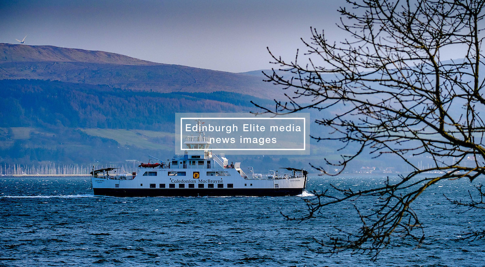 The Calmac ferry 'Loch Shira' making the short crossing from Largs on the Scottish mainland to the island of Great Cumbrae of the west coast of Scotland. <br /> <br /> (c) Andrew Wilson | Edinburgh Elite media