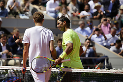 May 27, 2019 - Paris, France - Yannick Hanfmann of Germany (L) and  Rafael Nadal of Spain after during their mens singles first round match against Rafael Nadal of Spain during Day two of the 2019 French Open at Roland Garros on May 27, 2019 in Paris, France. (Credit Image: © Ibrahim Ezzat/NurPhoto via ZUMA Press)