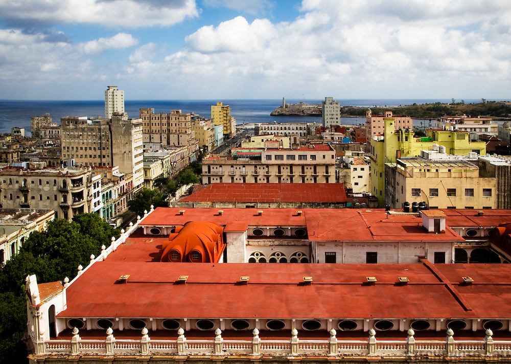 A view of colorful downtown Havana on a sunny afternoon.<br />
