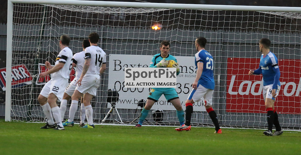 Mark Brown makes a save  during the Dumbarton v Rangers  Scottish Championship  02 January 2016<br /> <br /> (c) Andy Scott | SportPix.org.uk