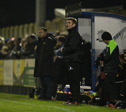 Weston Super Mare Manager, Micky Bell looks on from the dugout. - Photo mandatory by-line: Alex James/JMP - Mobile: 07966 386802 - 18/11/2014 - SPORT - Football - Weston-super-Mare - Woodspring Stadium - Weston-super-Mare v Doncaster - FA Cup - Round One