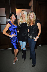 Left to right, LIZZIE CUNDY, EMMA NOBLE and SUE MOXLEY at the launch of Grosvenor Shirts luxury collection to celebrate the 2010 FIFA World Cup in South Africa held at 88 St.James's Street, London SW1 on 8th December 2009.