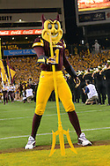 TEMPE, AZ - SEPTEMBER 03:  The Arizona State Sun Devils mascot 'Sparky' performs during the college football game against Northern Arizona Lumberjacks at Sun Devil Stadium on September 3, 2016 in Tempe, Arizona. The Arizona State Sun Devils won 44-13. (Photo by Jennifer Stewart/Getty Images)
