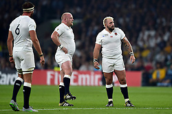 Dan Cole and Joe Marler of England look on - Mandatory byline: Patrick Khachfe/JMP - 07966 386802 - 03/10/2015 - RUGBY UNION - Twickenham Stadium - London, England - England v Australia - Rugby World Cup 2015 Pool A.