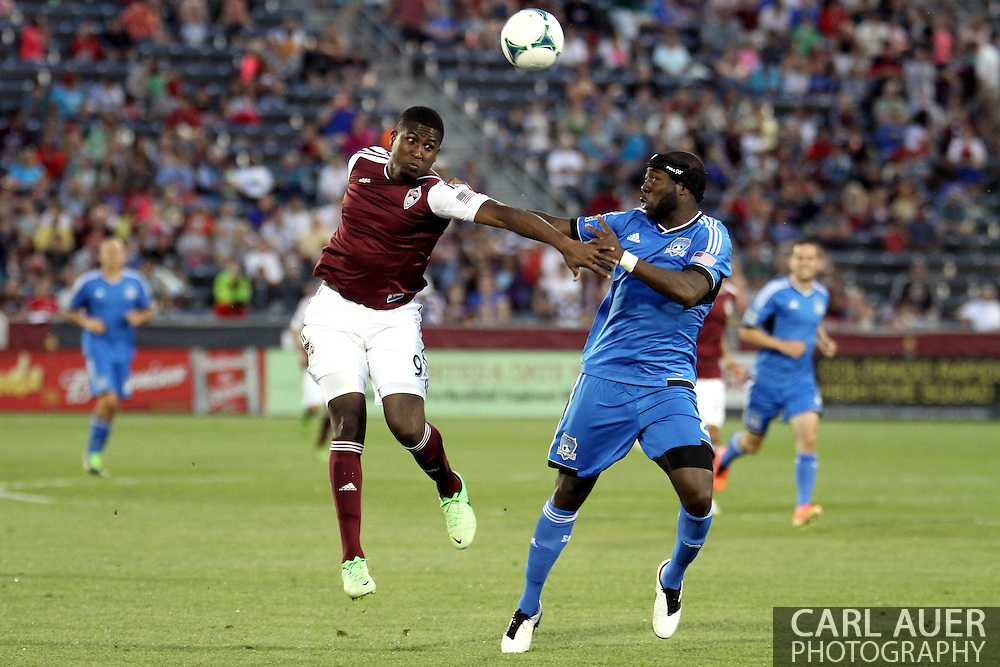 June 15th, 2013 - Colorado Rapids forward Edson Buddle (9) and San Jose Earthquake defender Nana Attakora (23) battle for the ball in the second half of the MLS match between San Jose Earthquake and the Colorado Rapids at Dick's Sporting Goods Park in Commerce City, CO