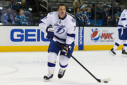 Dec 21, 2011; San Jose, CA, USA; Tampa Bay Lightning defenseman Victor Hedman (77) warms up before the game against the San Jose Sharks at HP Pavilion. San Jose defeated Tampa Bay 7-2. Mandatory Credit: Jason O. Watson-US PRESSWIRE