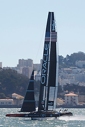 Oracle Team USA skippered by James Spithill sails in the San Francisco Bay during the 2013 America's Cup Finals San Francisco, California.