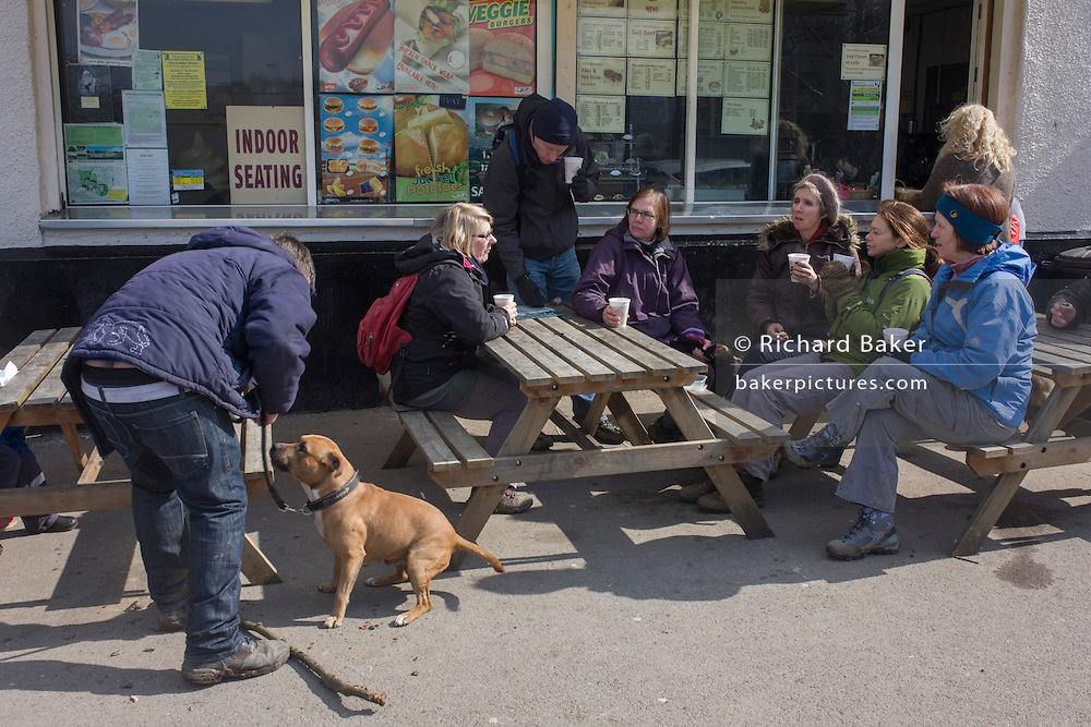 Walking friends enjoy a rest on benches at an outdoor cafe in Epping Forest, Essex, England. Gathered on bench seats and wrapped up against a Spring chill, the people sit with foam cups of tea, talking next to another person whose pet American Staffordshire Terrier is on a lead. The outdoor cafe is in a car park inside Epping Forest, an area of ancient woodland in south-east England, straddling the border between north-east Greater London and Essex. It covers 2,476 hectares and contains areas of woodland, grassland, heath, rivers, bogs and ponds - popular with families and more serious walkers.
