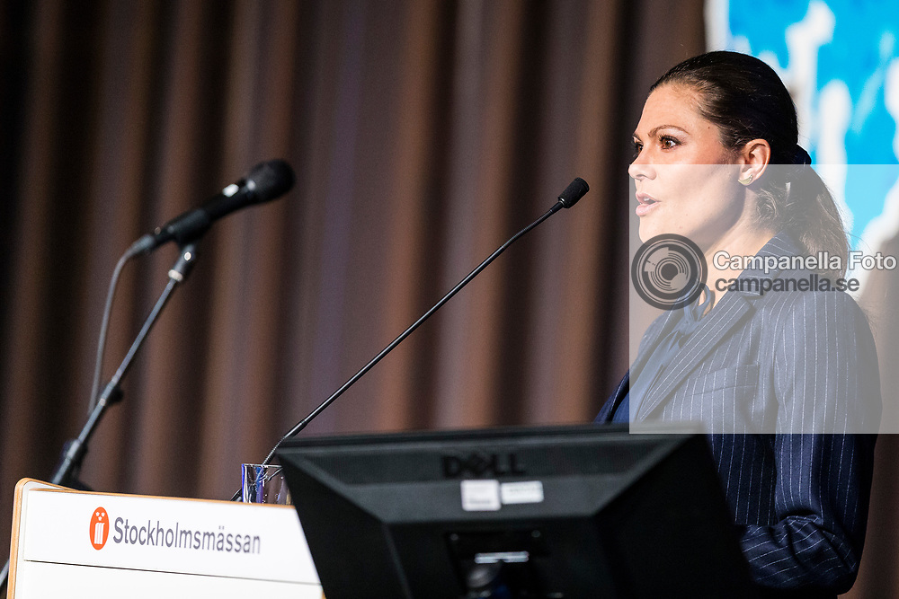 STOCKHOLM, SWEDEN - MARCH 06: Princess Victoria of Sweden gives a speech at the inauguration of the 2017 Baltic Sea Future congress held at the Stockholm International Fairs & Congress Centre on March 6, 2017 in Stockholm, Sweden. (Photo by MICHAEL CAMPANELLA/Getty Images)