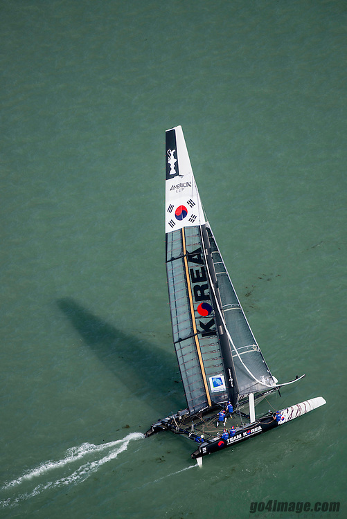 Venice America's Cup World Series 2012<br /> Racing images from the air.<br /> May 19. 2012