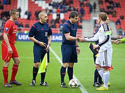 LIVERPOOL, ENGLAND - Tuesday, December 9, 2014: Referee Bryn Markham-Jones of Wales before the UEFA Youth League Group B match between Liverpool and FC Basel at Langtree Park. (Pic by David Rawcliffe/Propaganda)