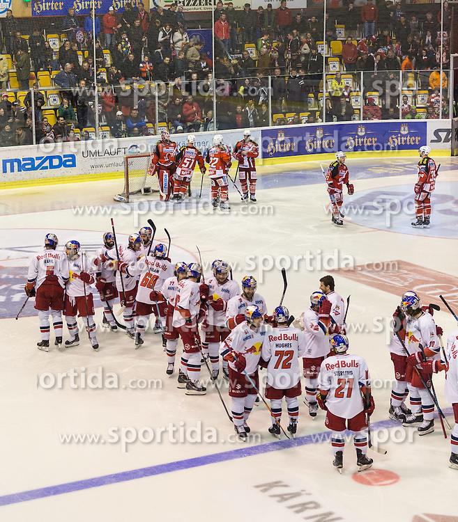 29.03.2015, Stadthalle, Klagenfurt, AUT, EBEL, EC KAC vs EC Red Bull Salzburg, 4. Spiel Playoff Halbfinale, im Bild Siegesjubel und Trauerfeier // during the Erste Bank Icehockey League 4th game playoff seminfinals match betweeen EC KAC and EC Red Bull Salzburg at the City Hall in Klagenfurt, Austria on 2015/03/29. EXPA Pictures © 2015, PhotoCredit: EXPA/ Gert Steinthaler