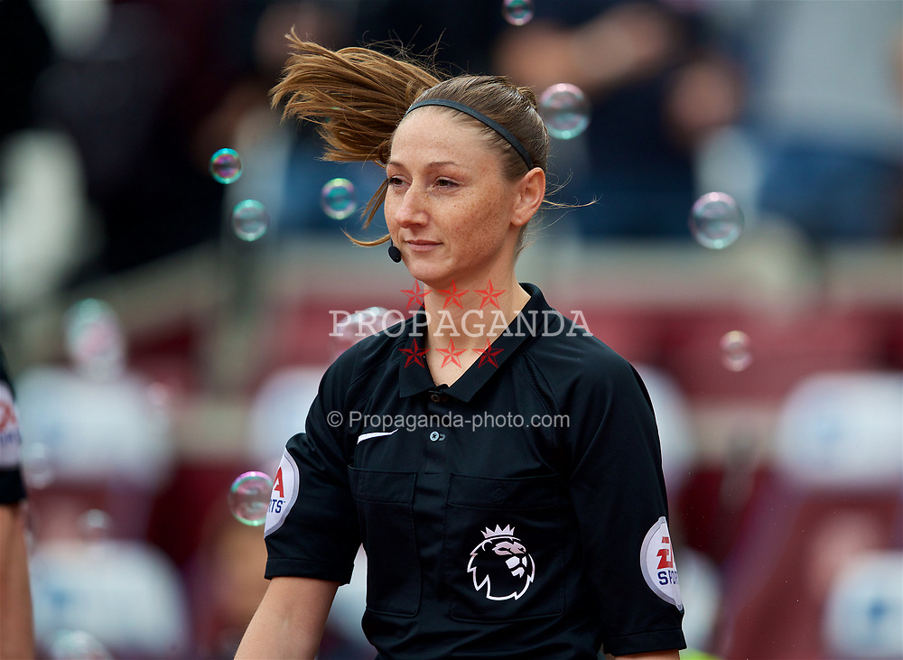 LONDON, ENGLAND - Saturday, April 22, 2017: Assistant referee Sian Massey-Ellis during the FA Premier League match between West Ham United and Everton at the London Stadium. (Pic by David Rawcliffe/Propaganda)