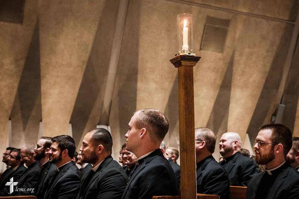 Pastoral candidates listen during The Order of Vespers with Distribution of Calls into the Holy Ministry on Wednesday, April 25, 2018, in Kramer Chapel at Concordia Theological Seminary, Fort Wayne, Ind. LCMS Communications/Erik M. Lunsford