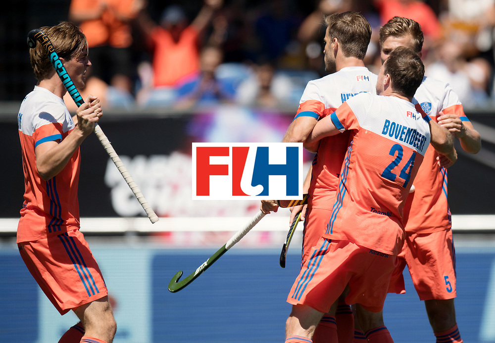 BREDA - Rabobank Hockey Champions Trophy<br /> 3rd/4th place The Netherlands - Argentina<br /> Photo: Jorrit Croon, Thijs van Dam, Jeroen Hertzberger and Roel Bovendeert celebrate the 1-0.<br /> COPYRIGHT WORLDSPORTPICS FRANK UIJLENBROEK
