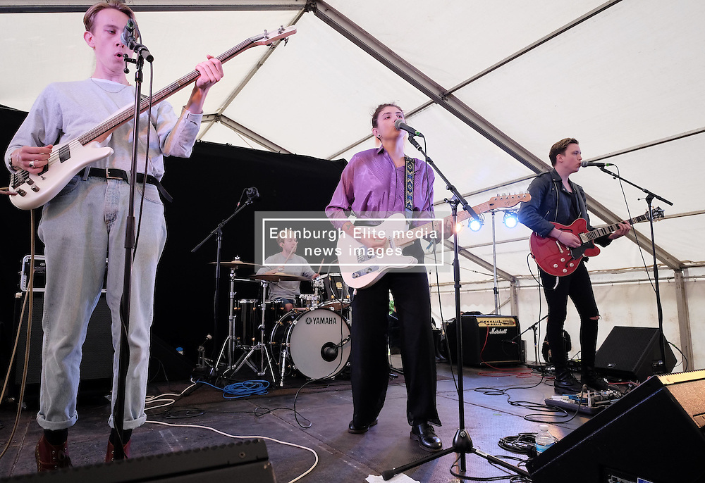 Party At The Palace, Linlithgow, Scotland, Saturday 13th August 2016<br /> <br /> Lucia Fontaine and her band perform on the Star & Garter stage<br /> <br /> (c) Alex Todd | Edinburgh Elite media