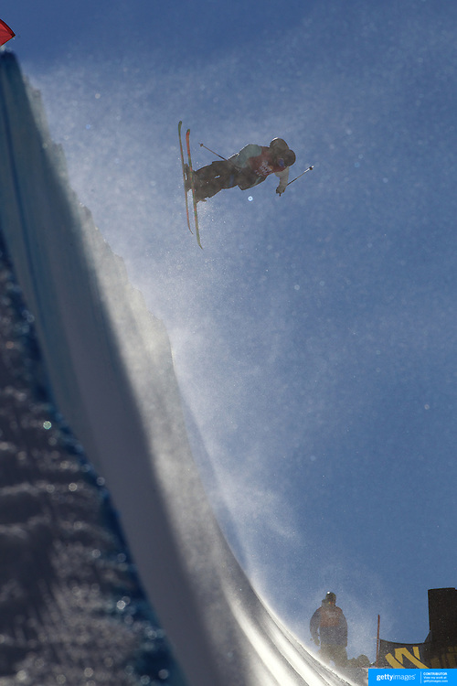 Taylor King, New Zealand, in action in the Halfpipe Finals during The North Face Freeski Open at Snow Park, Wanaka, New Zealand, 3rd September 2011. Photo Tim Clayton...