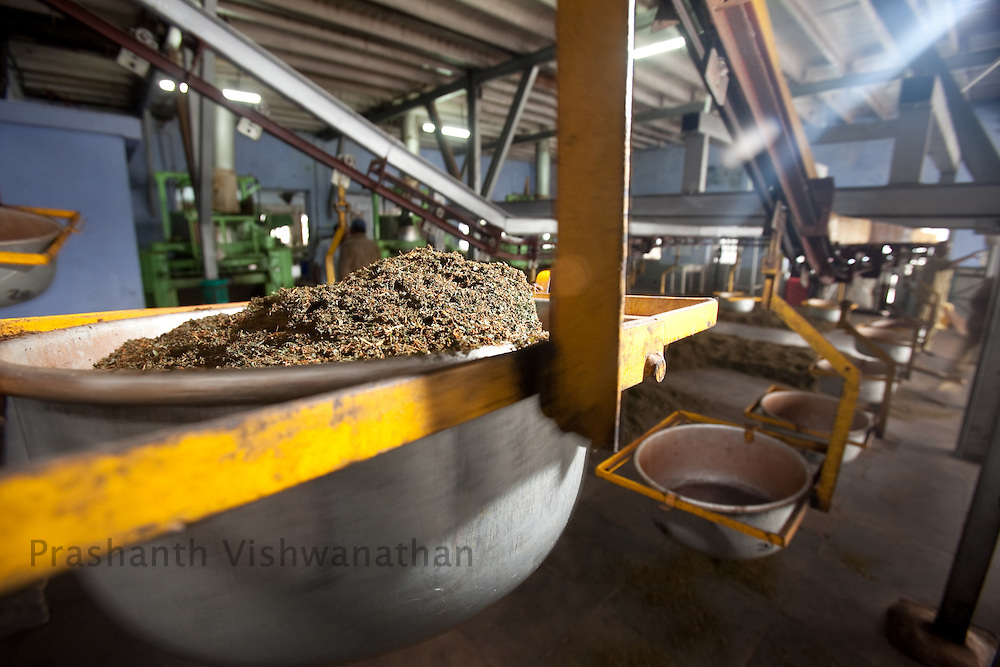 Fermented tea leaves are transported through conveyor belts inside a tea factory in Conoor, India, on Friday May 21, 2010. Photographer: Prashanth Vishwanathan/Bloomberg News