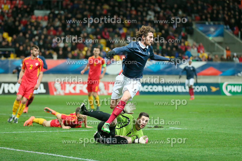 28.03.2016, Stade Mmarena, Le Mans, FRA, UEFA U21 Euro Qualifikation, Frankreich vs Mazedonien, Gruppe 3, im Bild aleksovski igor, rabiot adrien // during the UEFA U21 Euro qualifier group 3 match between France and Macedonia at the Stade Mmarena in Le Mans, France on 2016/03/28. EXPA Pictures © 2016, PhotoCredit: EXPA/ Pressesports/ Vincent Michel<br /> <br /> *****ATTENTION - for AUT, SLO, CRO, SRB, BIH, MAZ, POL only*****
