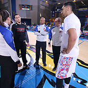 NBA Official Lauren Holtkamp (11) LEFT, team captains Erie BayHawks Guard Seth Curry (12) and Delaware 87ers Forward Drew Gordon (32) prior a NBA D-league regular season basketball game between the Delaware 87ers and the Erie BayHawk (Orlando Magic) Friday, Mar. 27, 2015 at The Bob Carpenter Sports Convocation Center in Newark, DEL.