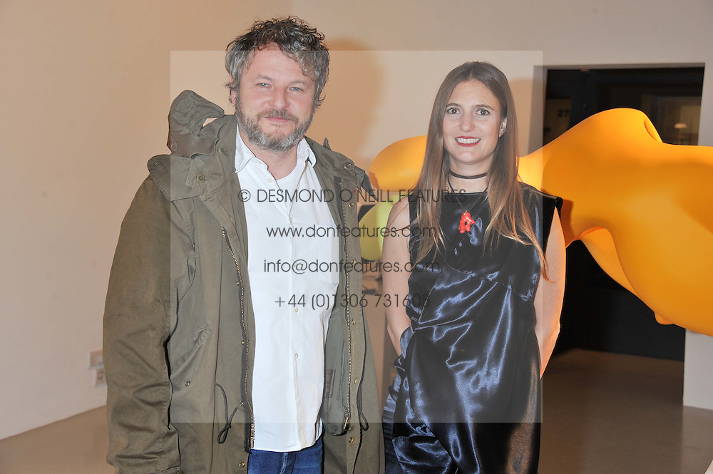 Artist TOBIAS REHBERGER and PILAR CORRIAS at a private view of Tobias Rehberger's latest work entitled 'Sex and Friends' held at the Pilar Corrias Gallery, 54 Eastcastle Street, London W1 on 12th January 2012.