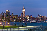 New York, the empire state building, Manhattan Midtown skyline  and Hudson river, , view from Hoboken, New Jersey  New - United states