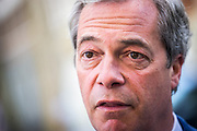 UNITED KINGDOM, London:  Leader of the UKIP Party Nigel Farage unveils Ukip election poster for the London Mayoral elections in London, on May 3, 2016. Pic by Andrew Cowie / Story Picture Agency