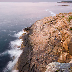 Dawn over Great Head and Frenchman Bay in Maine's Acadia National Park.  Gulf of Maine.