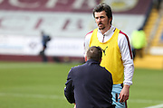Joey Barton of Burnley receives treatment during the warm up before the Sky Bet Championship match between Burnley and Blackburn Rovers at Turf Moor, Burnley, England on 5 March 2016. Photo by Simon Brady.